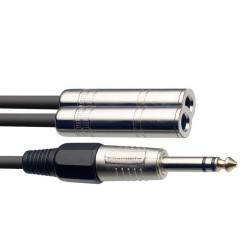 Stagg SYC3/PS2JE 1x Stereo 6.3mm Jack (M) to 2 x Mono 6.3mm Jack (F)