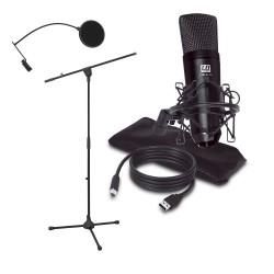 LD Systems PODCAST 2 zestaw mikrofon pojemnościowy USB + statyw + pop filtr